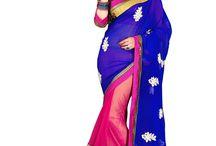 Pink And Blue Saree With Unstitched Blouse - Designer Saree - Women   Zakasi.com