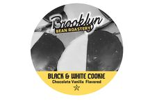 """Black & White Cookie / Born in New York in the early 20th century, the dark side lures you into a deep #chocolate-fudge fog, while on the bright side ... a melt-in-your-mouth vanilla cream dream. Why choose one when you can have both? Like a famous #NewYork comedian once said, """"If people would only look to the [black and white] cookie. All our problems would be solved."""" Brooklyn Bean Roastery's Black & White Cookie – every cup brewed is a step toward chocolatey world peace."""