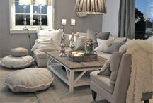 Lounge Ideas / Big Sofas, Lots of cushions and a big fire place <3