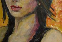 Portraits (peinture acrylique) / Mes dessins en peinture --> By Nat' ;D