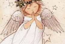 Utskrift ängel med krans