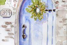 ~ I love watercolor doors, windows, fences...~