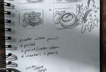 studies and process / Art studies, concepts, developments, process etc