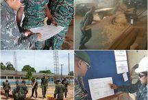 Militares da Guiana em treinamento de obras verticais e de alvenaria no 6º BEC