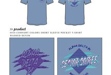 Seniors / Greek sorority and fraternity custom shirt designs featuring senior themes. For more information on screen printing or to get a proof for your next shirt order, visit www.jcgapparel.com