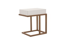 Contemporary White High Gloss & Walnut Wood One Drawer Ravena Side/BedsideTable