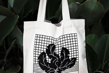 Bags / Our bags are screen printed by hands and made of sturdy cotton canvas.
