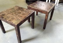 """Set of 2 side table with nails trim / 225$ I have a set of 2 really nice side tables. the design is Helprin espresso with nails trim. the measurements are: 22 1/4 inches wide. 22 1/4 inches depth. 20 inches high I am in Brampton Area. Taxes is extra. Credit card accepted. Ask me what else we have for sale...we have a lot. Thank you """"No Pay Pal"""""""