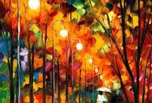 """Leonid Afremov / Citações por Afremov """"Na minha arte, eu estou olhando para expressar o meu eu interior e criar uma ilusão de movimento em uma pintura. Eu gosto de fazer a minha arte para que você possa sentir e ver a ação na pintura"""""""