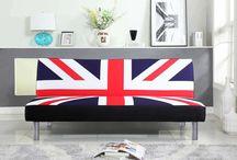 England Sofa Bed Room Furniture linen Fabric 2 3 Seater Modern Union Jack Flag