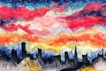 Artwork / illust waterclor illustration artwork artist painting color postcard sky night skyline painting