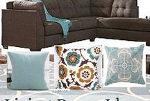 brown couch and blue accents