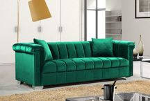 Kayla Velvet Sofas / Meridian Furniture -  The Kayla Velvet Sofa will wow anyone that enters your home! This collection features plush velvet upholstery with chrome legs. Available as a sofa set in Green, Grey, Navy, and Cream