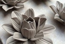 ceramics leaves, flowers