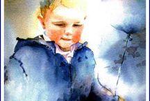 malerier akvarell, jul