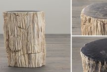 Outdoor Log Furniture / Modern homes meet rustic charm as we get a look at a beautiful home interior set with Petrified Wood furniture. There are genuine fossil stump pieces and also Petrified Wood with natural patterns. It all has the rustic look and it's from the IndoGemstone collection.