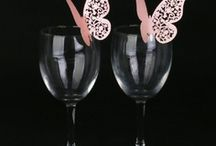 marque place papillon rose mariage,porte noms rose,etiquettes rose