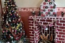 sapin de noël / sapin de Noël  , cheminé en carton , calendrier de l'avant en carton