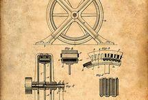 Disegni, esplosi di apparecchiature di altri tempi elettriche , elettroniche, meccaniche