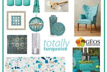 Totally TURQUOISE! / Turquoise is hot in design right now and GEOS Recycled glass is SPOTon trend.