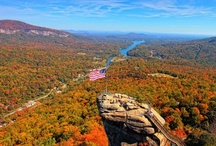 Chimney Rock / Chimney Rock at Chimney Rock State Park in the beautiful Blue Ridge Mountains of North Carolina. 75-mile panoramic views of Hickory Nut Gorge and Lake Lure. Hickory Nut Gorge, one of North Carolina's most significant centers of biodiversity, is home to 36 rare plant species and 14 rare animal species.