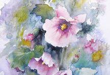 sulu boya çiçekler