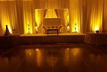 Hyatt Regency Orlando International Drive Wedding Lighting Ideas / Wedding lighting, Uplighting in amber, Texture projection, and premium  white draping provided by www.orlandodjandlighting.com