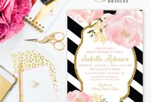 A touch of pink, black & gold / Different variations & designs using these 3 colours - love them!