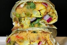Gobi Aloo Wrap - Cauliflower Potato, Toasted Red Lentil hummus, Pickled Onion Wrap. Vegan Recipe