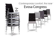 "Evosa Congress / ""The Evosa's minimalist contemporary styling will complement any room.""   Designed by Peter Roth, the Evosa is the perfect chair for the most prestigious venues. The slender chrome plated steel frame and the option of knitted mesh or upholstered back creates a modern chair of outstanding design and quality."