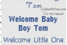 Welcome Baby Boy free cross stitch patterns / Welcome Baby Boy free cross stitch patterns text, ideal for birth records.