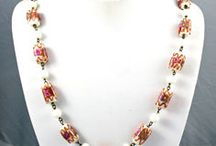 Beautiful Beaded Jewelry / Jewelry that showcases and highlights beautiful beads. Wonderful assortment of beaded necklaces, earrings and bracelets. Its all about beads - Gemstones, Lucite, Bakelite, Jade, Serpentine, Millefiori, Italian, Amethyst, Rose Quartz, Jasper, Coral, Turquoise, Silver, Gold, Bone, Shell, Peridot, Cloisonne, Brass, Lamp Work Glass. Some by designers such as Kramer, Weiss, Hollycraft, Miriam Haskell, Lanvin, Givenchy, Monet, Trifari, Monies, Razza...