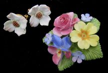 Staffordshire China flower brooches