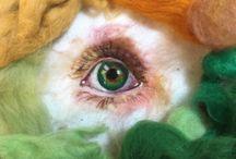 Needle-felted eyes by Sarah Vaci