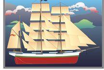Sailaway / Zeilschepen en zeegezichten, getekend door Lex van Keulen