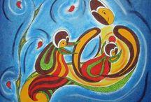 dessin aux pastels à huile. Oil pastels