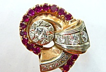 Retro Looks / Jewelry from the 40's  Pink gold diamonds and rubies
