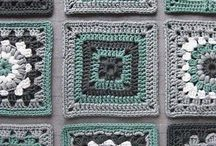blocked green crochet squares