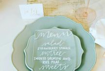 Wedding Table Designs / Place card calligraphy on  hand-lettered menus, table numbers, seating charts and more.