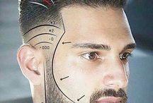 Män korta frisyrer och skägg