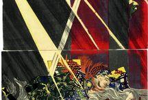 月岡芳年 Tsukioka Yoshitoshi / 月岡 芳年(つきおか よしとし、1839年4月30日(天保10年3月17日) - 1892年(明治25年)6月9日)は、日本の画家。幕末から明治前期にかけて活動した浮世絵師である。姓は吉岡(よしおか)、のちに月岡。本名は米次郎(よねじろう)。画号は、一魁斎芳年(いっかいさい よしとし)、魁斎(かいさい)、玉桜楼(ぎょくおうろう)、咀華亭(そかてい)、子英、そして最後に大蘇芳年(たいそ よしとし)を用いた。  河鍋暁斎、落合芳幾、歌川芳藤らは歌川国芳に師事した兄弟弟子の関係にあり、特に落合芳幾は競作もした好敵手であった。また、多くの浮世絵師や日本画家とその他の画家が、芳年門下もしくは彼の画系に名を連ねている。