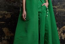 Long green dress with green pants