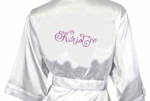 Bridal Party Robes / 25 Colors and Counting!  Our beautiful satin kimono style bridal party robes monogrammed in embroidery, rhinestones or even gltter print!  We are also introducing prints for 2015, so watch for our new designs.  From bridesmaids to flower girls, mothers to the Bride herself, we've got bridal party robes to give to every woman on your gift list!