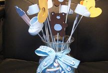 Baby shower decorating, diaper cakes, invitations and guest books