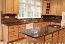 TAN BROWN GRANITE-on Light Wood Cabinets