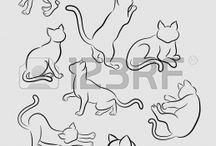 Cat vector/tatoo