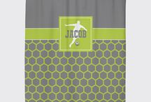 Soccer Rooms for Boys / Soccer themed bedrooms for boys and teens.  Duvet cover bedding sets, throw pillows, wall art prints, gallery wrapped canvases, shower curtains for soccer players.