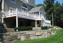 Reclaimed Granite Walls and Stairways / Reclaimed granite used in granite retaining walls and stairways.