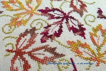 Cross stitch autumn leaves