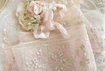 A Lady's Boudoir ....... / should have....tones of Blush Pink and French Vanilla, Peony Roses, Antique Laces, Vintage Ribbon Flowers, Sparkling Crystal, Gold Filigree frames and flowers, Ornate Crowns and Tiaras, Soft Feather Cushions, Fragrant Candles..........oh and a big beautiful soft bed